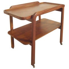 Midcentury Walnut Two-Tier Serving Cart