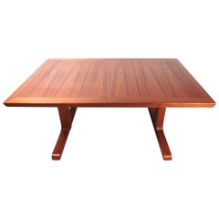 Mid-Century Modern Danish Teak Dining Table with Leaves