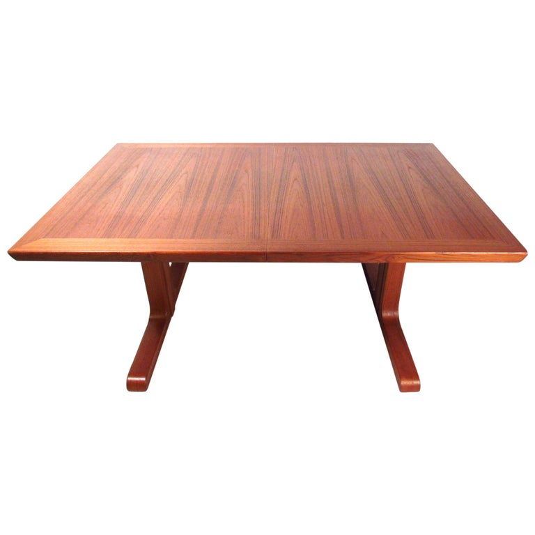 Mid-Century Modern Danish Teak Dining Table with Leaves For Sale