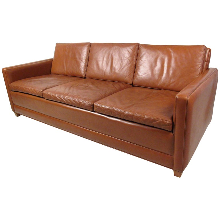 Vintage Leather Sofa in the Style of Borge Mogensen For Sale