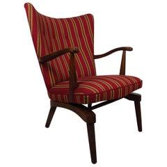 Sculpted Vintage Modern Walnut Rocking Armchair