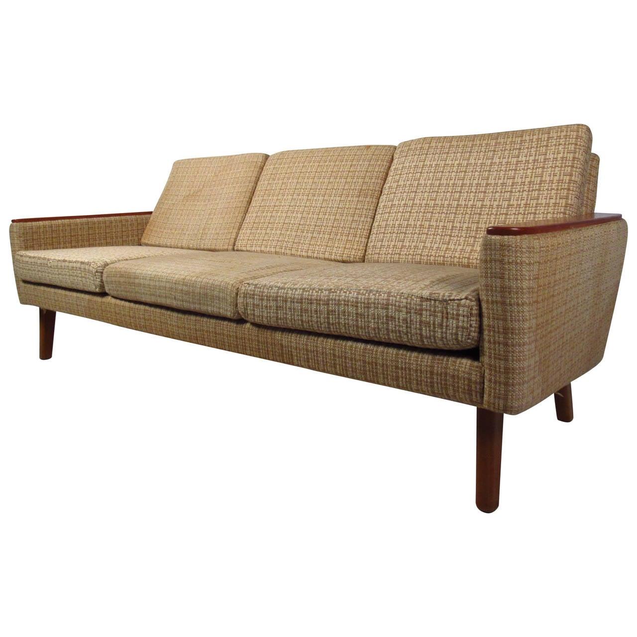 Vintage Three Seat Sofa With Teak Armrests