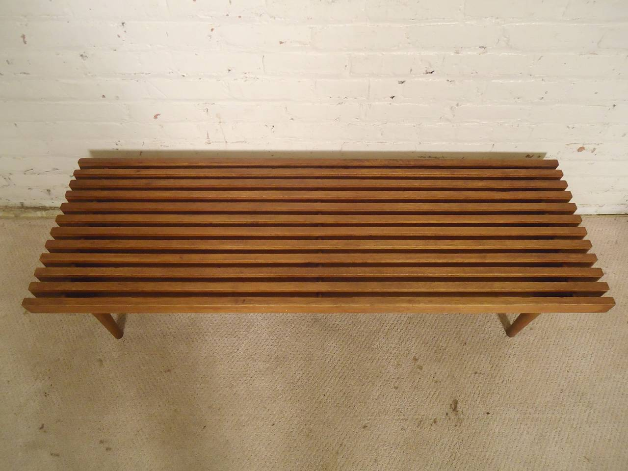 Wood Mid-Century Modern Slat Bench For Sale