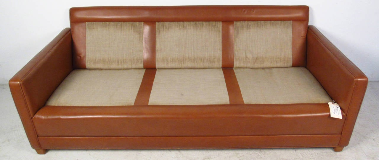 Vintage Leather Sofa in the Style of Borge Mogensen For Sale 1