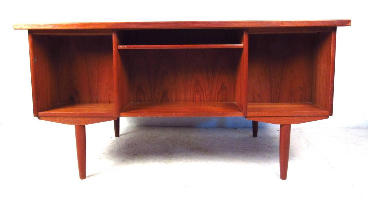 Danish Scandinavian Modern Teak Double Sided Desk For