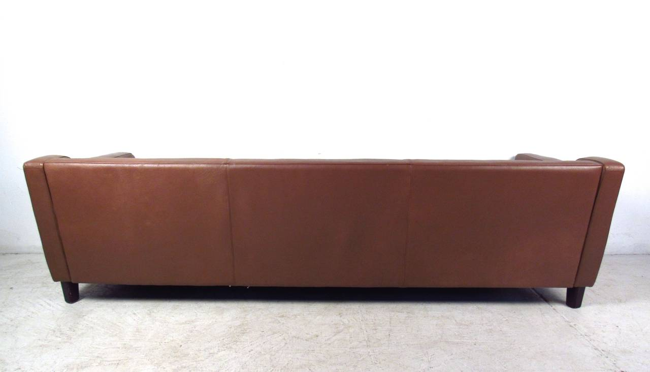 Danish Vintage Leather Sofa in the Style of Børge Mogensen For Sale