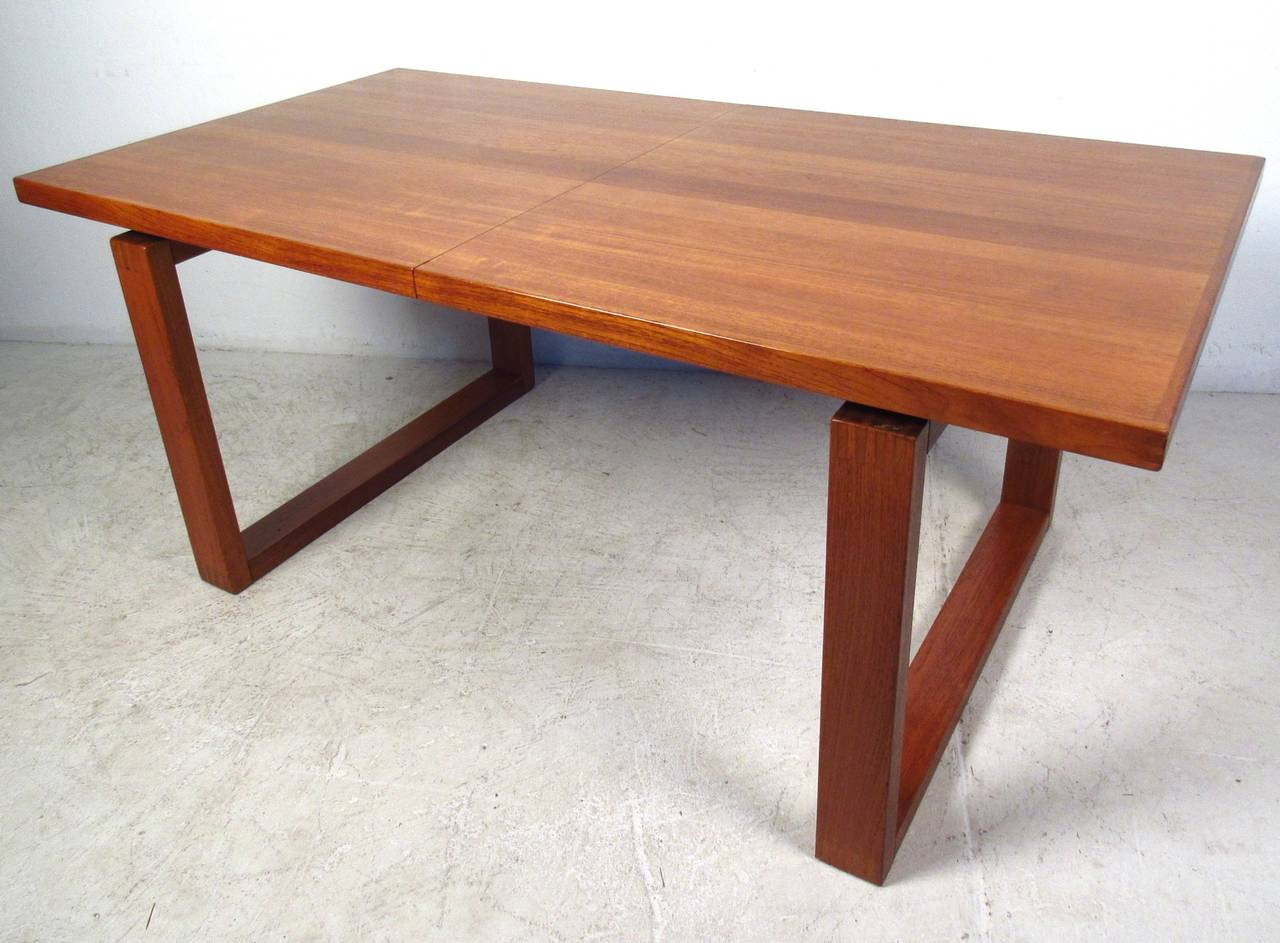 Unique Danish Teak Sled Leg Dining Table At 1stdibs
