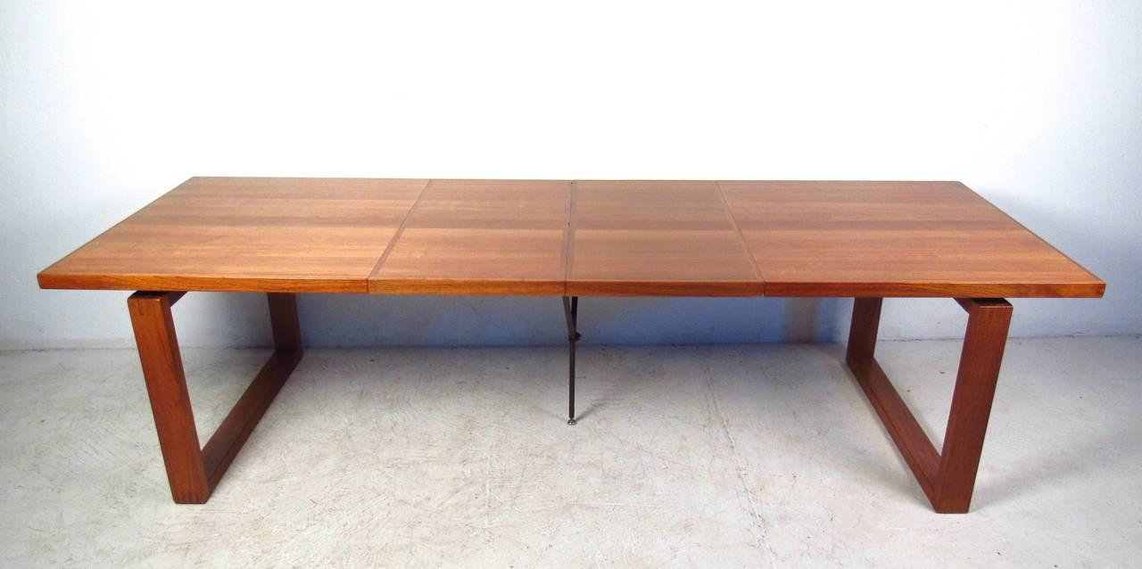 Unique danish teak sled leg dining table for sale at 1stdibs for Unique dining tables for sale