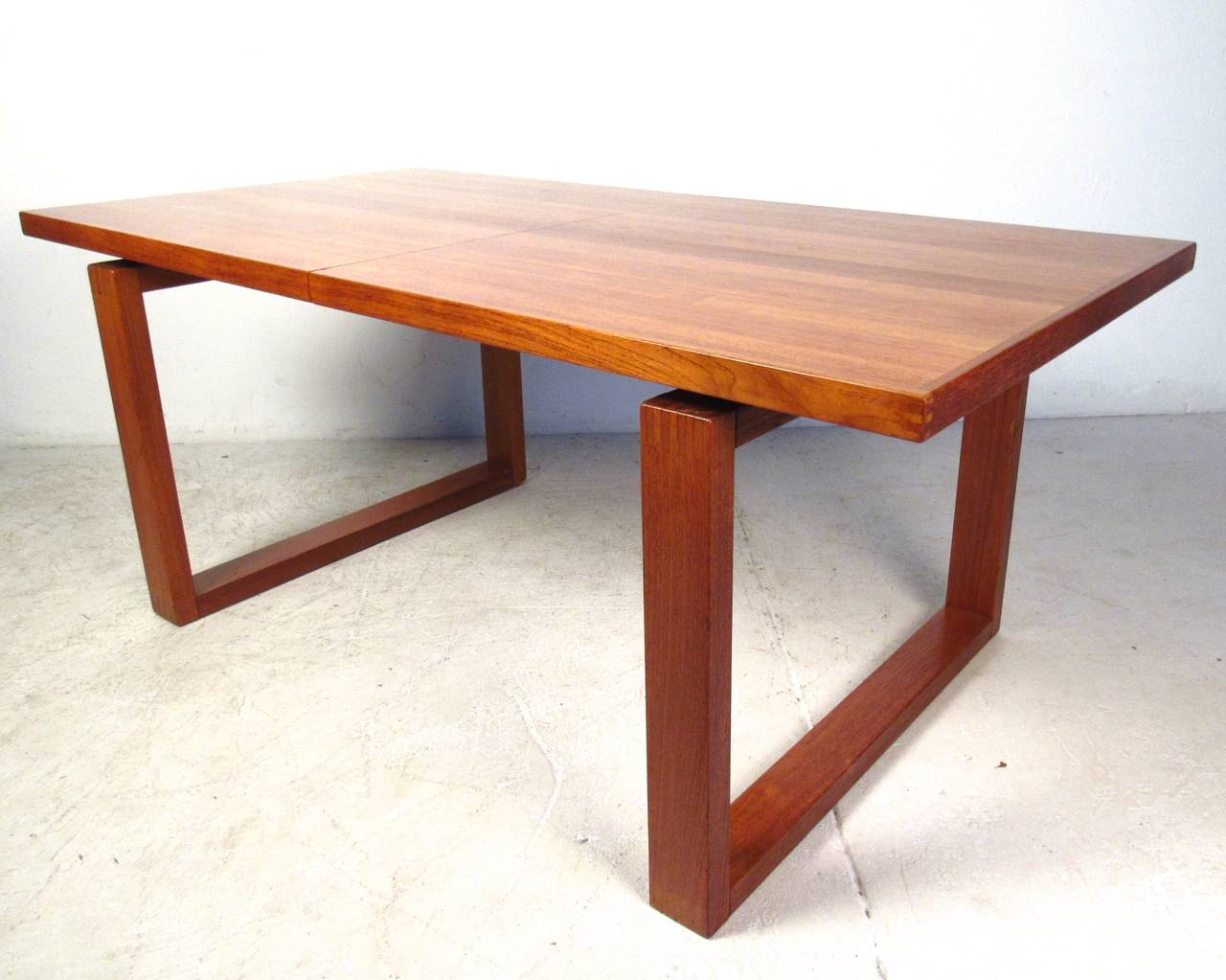 Unique danish teak sled leg dining table for sale at 1stdibs - Unique kitchen tables for sale ...