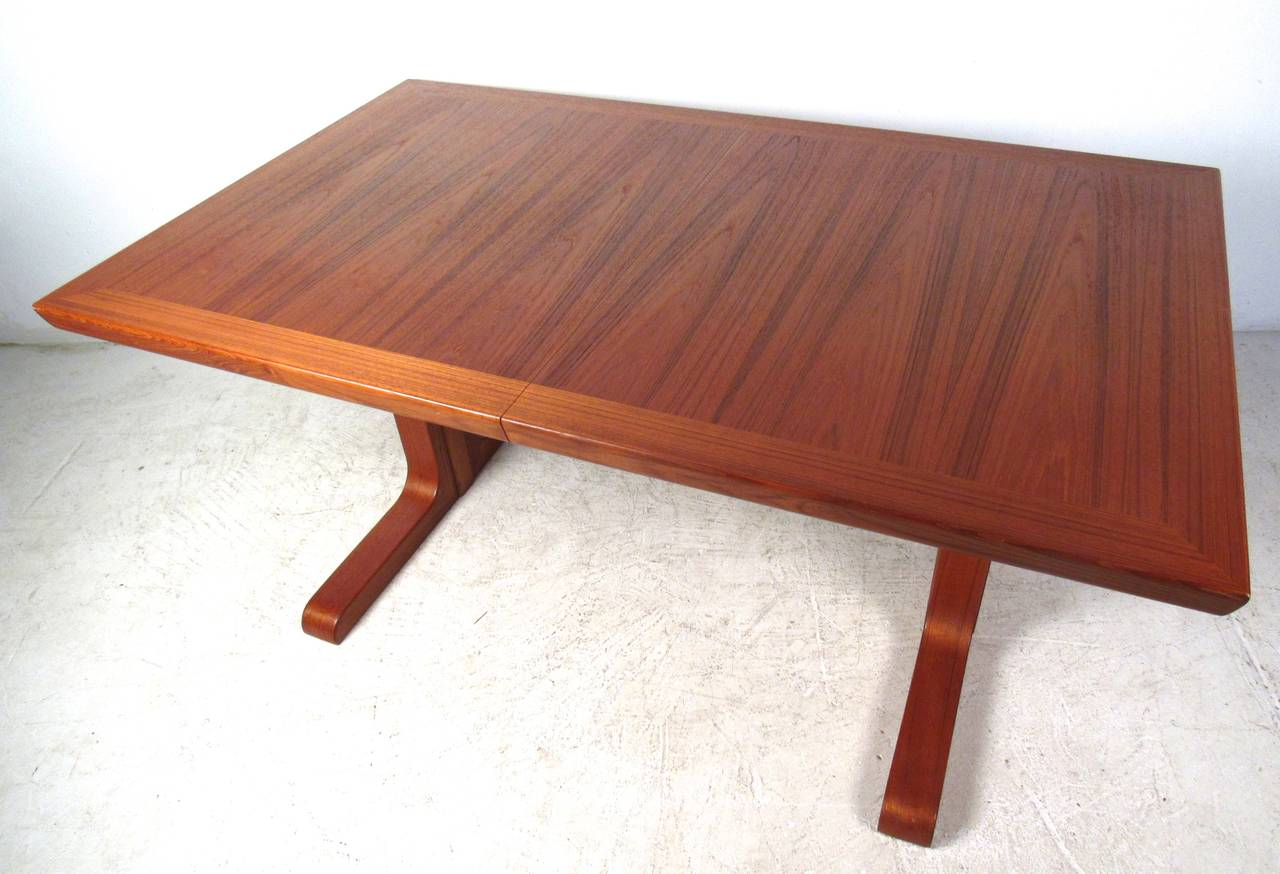 Mid-20th Century Mid-Century Modern Danish Teak Dining Table with Leaves For Sale