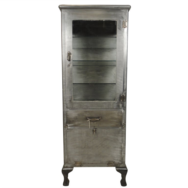 Industrial Metal And Glass Storage Cabinet At 1stdibs