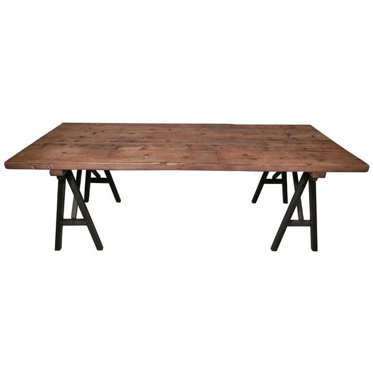 Large Industrial Style Table At 1stdibs