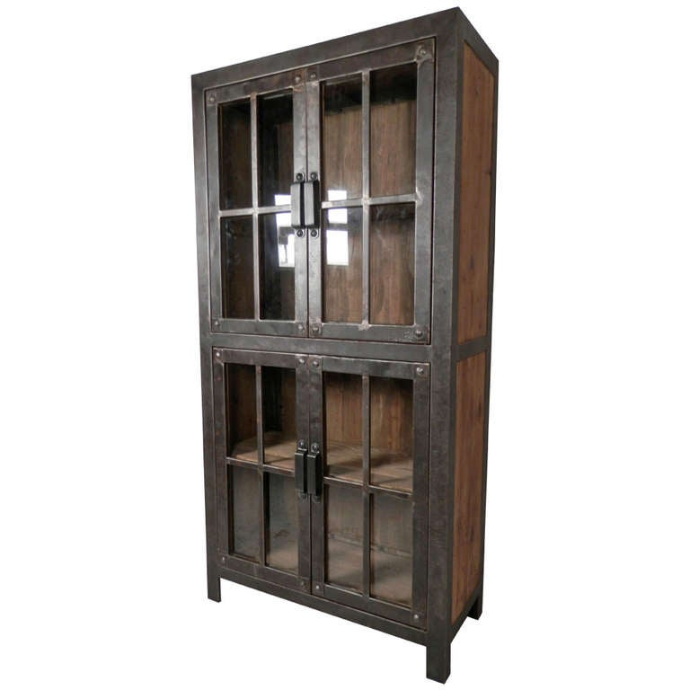 Gentil Reclaimed Iron And Wood Glass Door Cabinet For Sale