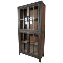 Reclaimed Iron and Wood Glass Door Cabinet