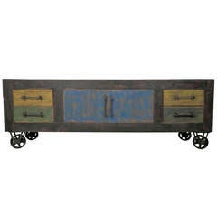 Handmade Industrial Credenza On Casters
