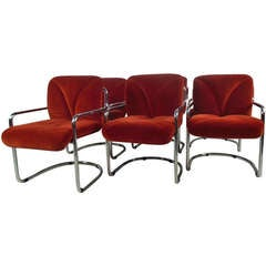 Set of Vintage Modern Cantilever Dining Chairs