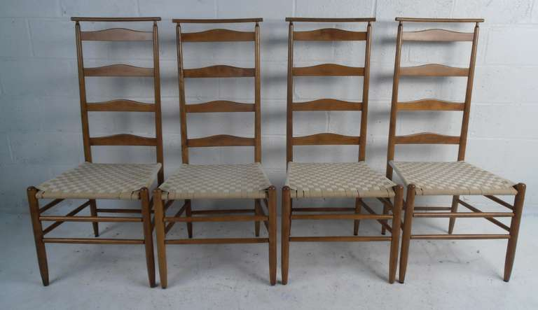 Set Of Four Tall Ladderback Chairs With Woven Seats. Please Confirm Item  Location (NY