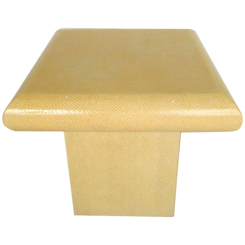 Vintage Karl Springer Style End Table in Faux Skin Finish