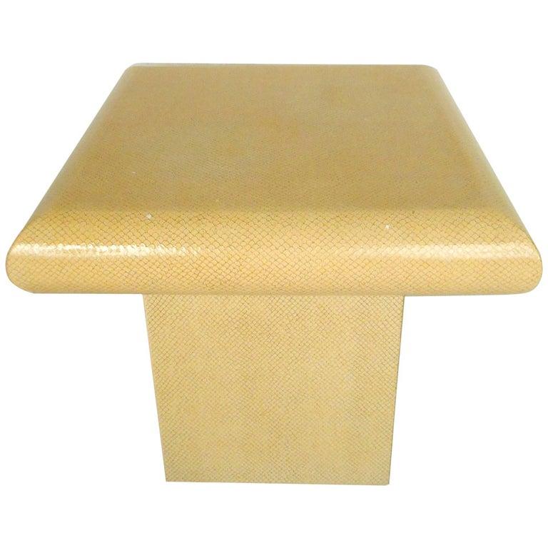 Vintage Karl Springer Style End Table in Faux Skin Finish For Sale