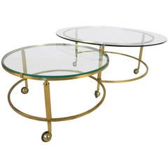 Unique Mid-Century Modern Two-Tier Brass and Glass Pivoting Cocktail Table