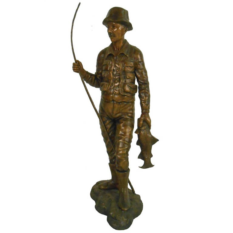 Detailed Bronze Fisherman Statue Signed