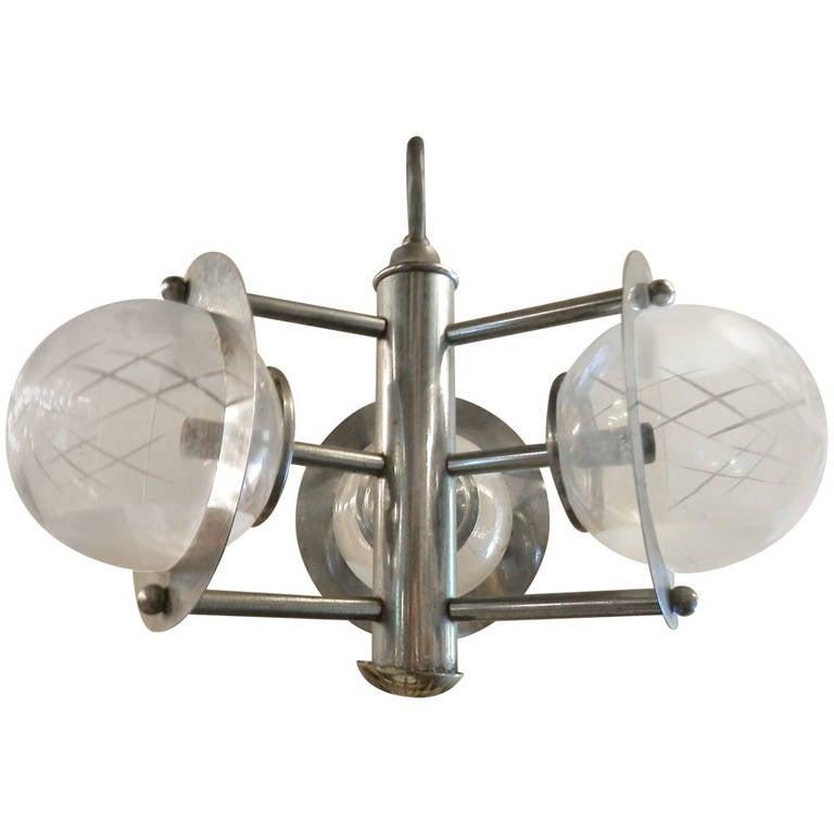 Mid-Century Italian Hanging Lamp w/ Glass Globes