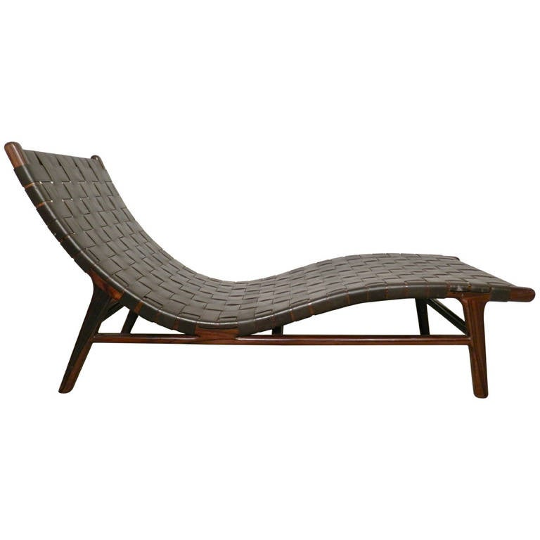 Unique mid century weaved leather chaise lounge at 1stdibs - Mid century chaise lounge chair ...