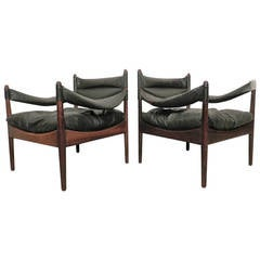 Kristian Vedel Mid-Century Rosewood and Leather Chairs