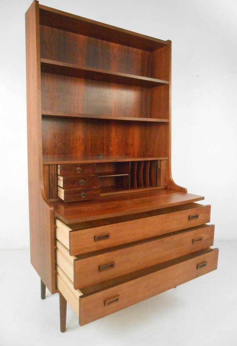 Danish Bookcase/Desk in Rosewood In Good Condition For Sale In Brooklyn, NY