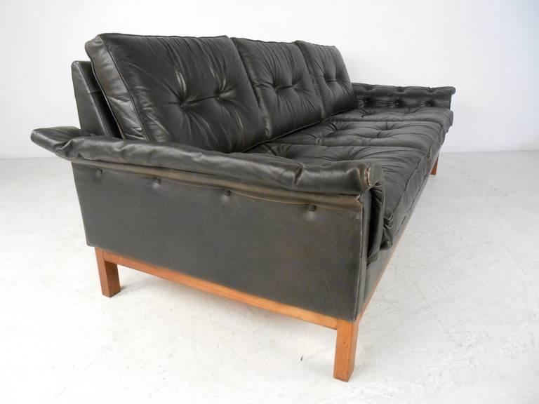 Vintage Danish Style Black Leather Sofa For 2