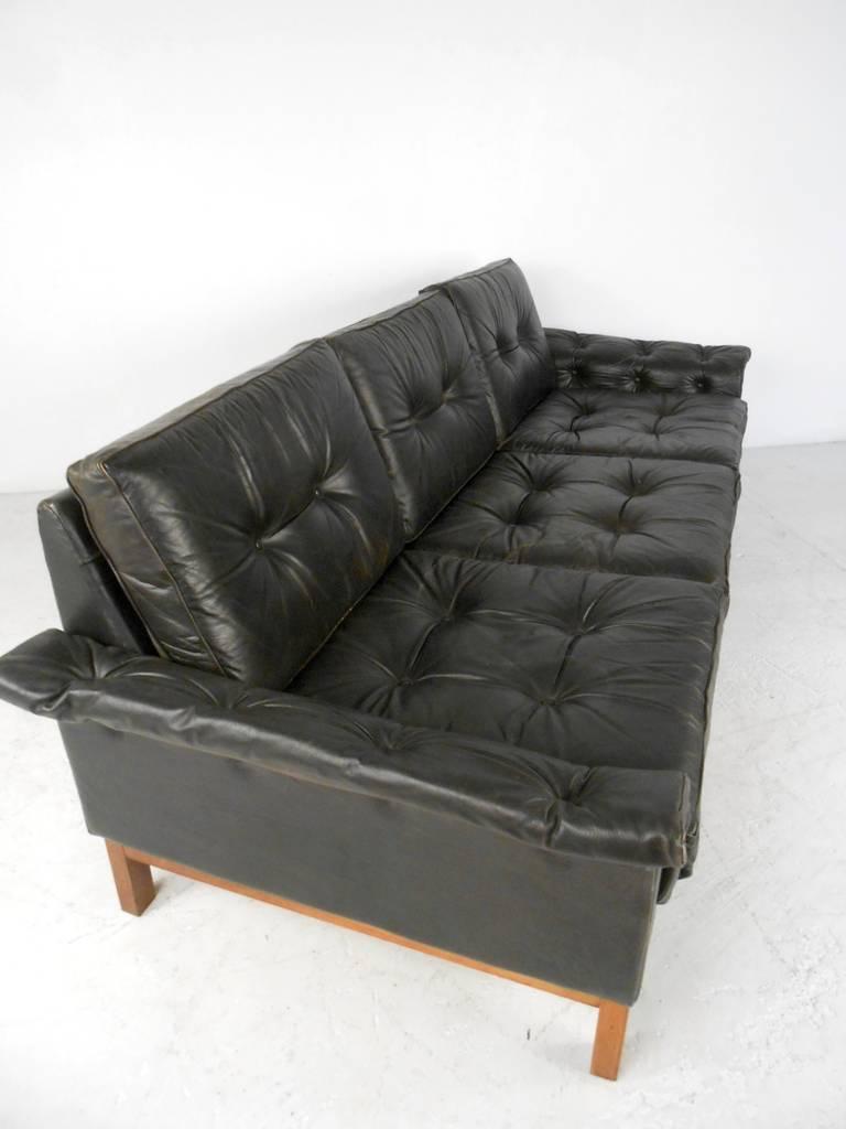 vintage danish style black leather sofa for sale at 1stdibs