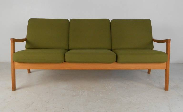 Scandinavian Modern Ole Wanscher #166 Sofa for Cado in Senator Oak For Sale