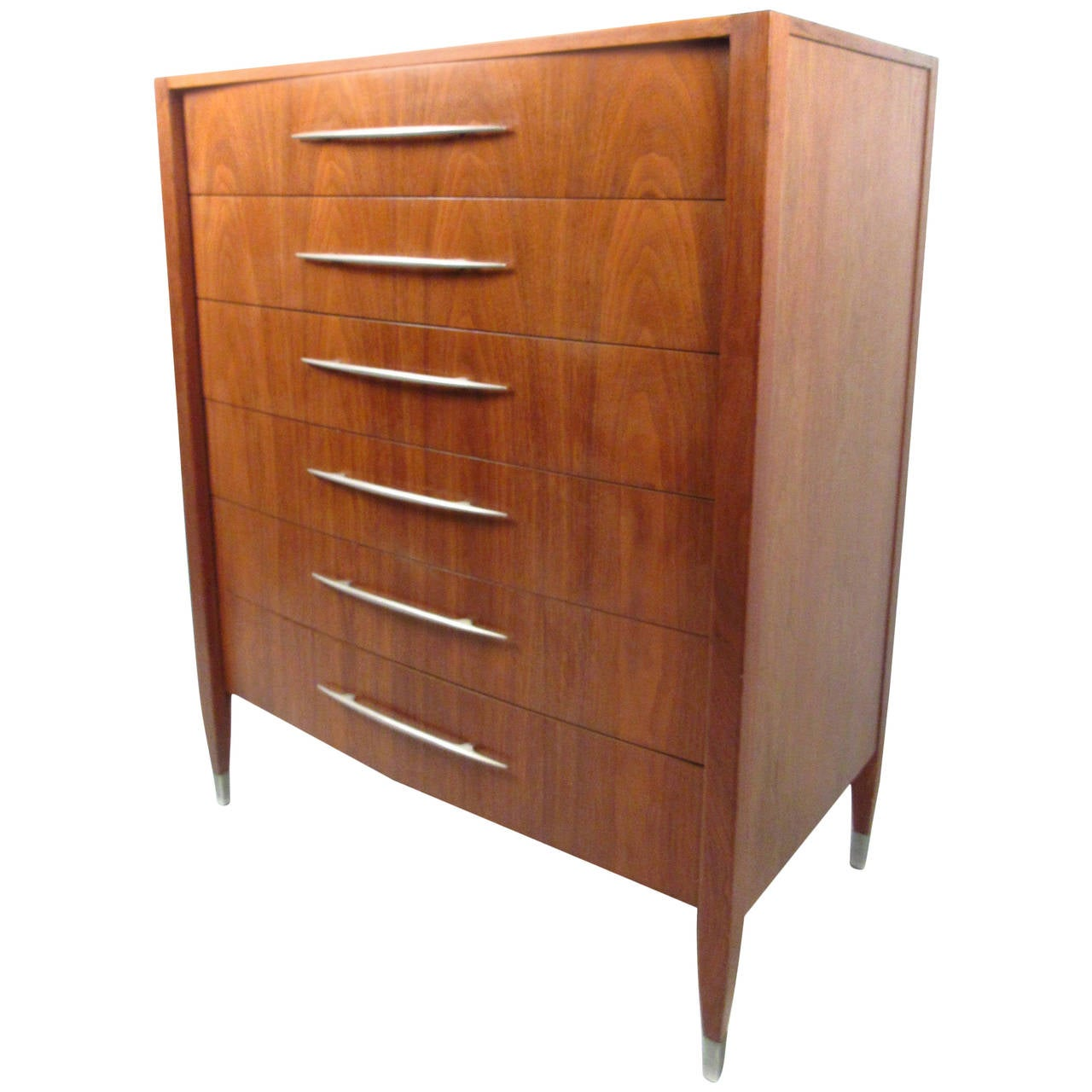 Midcentury Walnut Dresser With Chrome Accenting By Sligh Furniture For Sale At 1stdibs