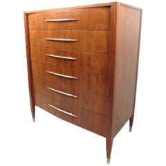 Vintage American Walnut Dresser with Chrome Accenting by Sligh Furniture
