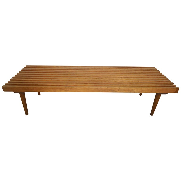 Mid-Century Modern Slat Bench For Sale