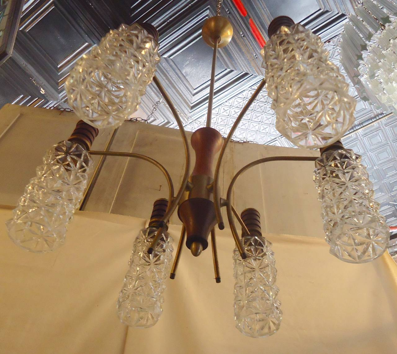Mid-Century Modern Cut Glass Chandelier For Sale