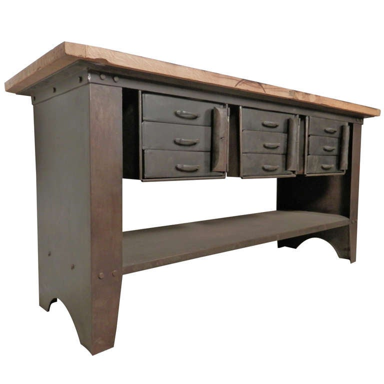 Machine age work table w lockable storage at 1stdibs for Furniture work table