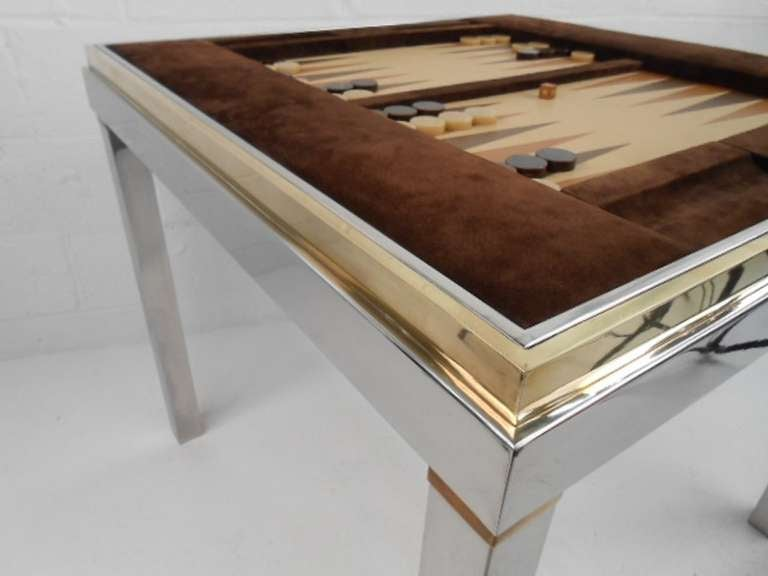 Merveilleux Mid Century Modern Willy Rizzo Backgammon Table For Sale