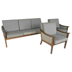 Ole Wanscher Style Living Room Set with Sofa and Chairs