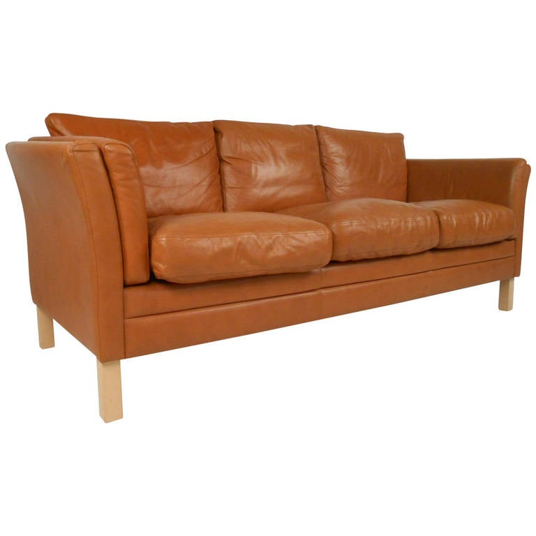 Classic scandinavian style leather sofa for sale at 1stdibs for Traditional couches for sale
