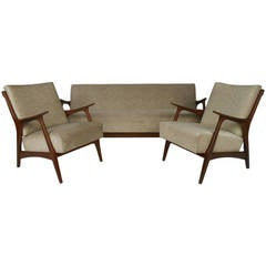 Scandinavian Modern Living Room Set with Chairs and Daybed