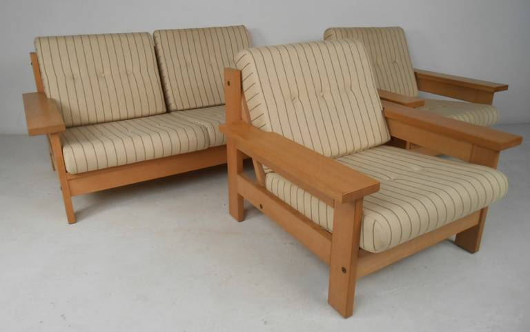 Unique three-piece living room suite consisting of loveseat and two side chairs in white oak with striped wool upholstery. Please confirm item location (NY or NJ) with dealer.
