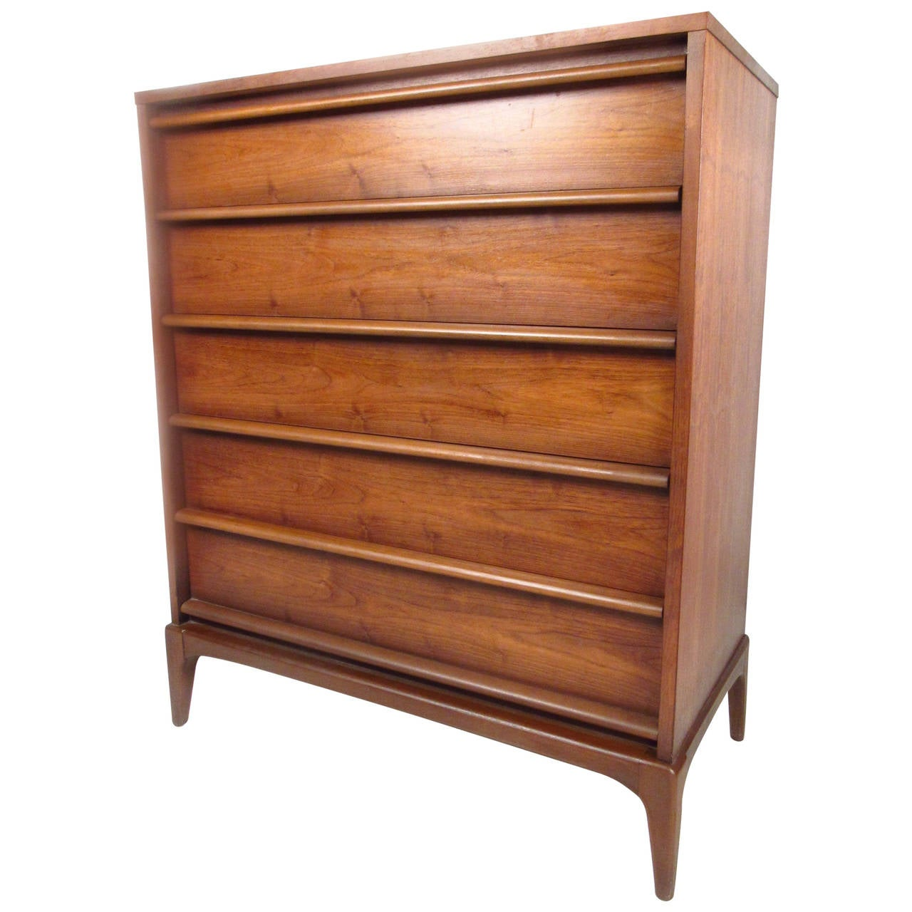 Beautiful Mid Century Walnut Highboy Dresser By Lane Furniture 1