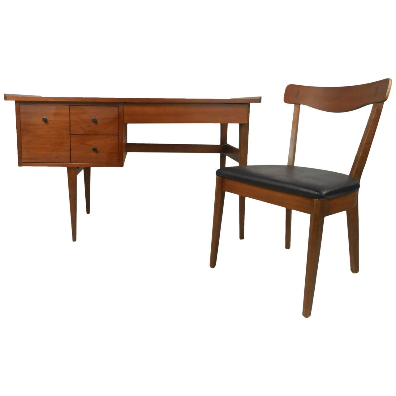 Mid-Century Writing Desk and Chair by American of Martinsville