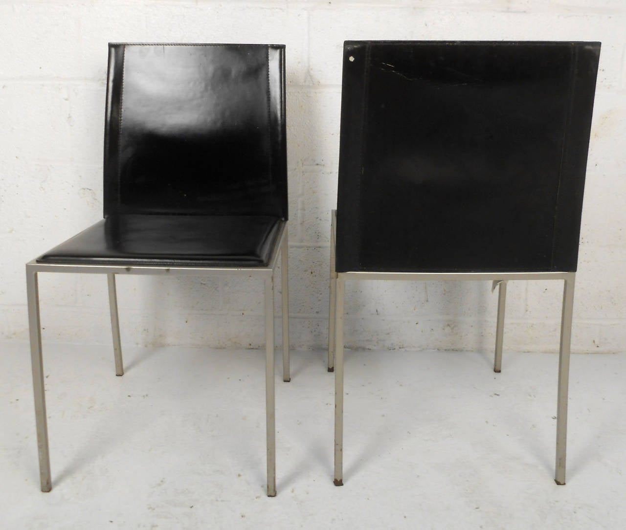 Set Of Four Midcentury Italian Leather Dining Chairs By