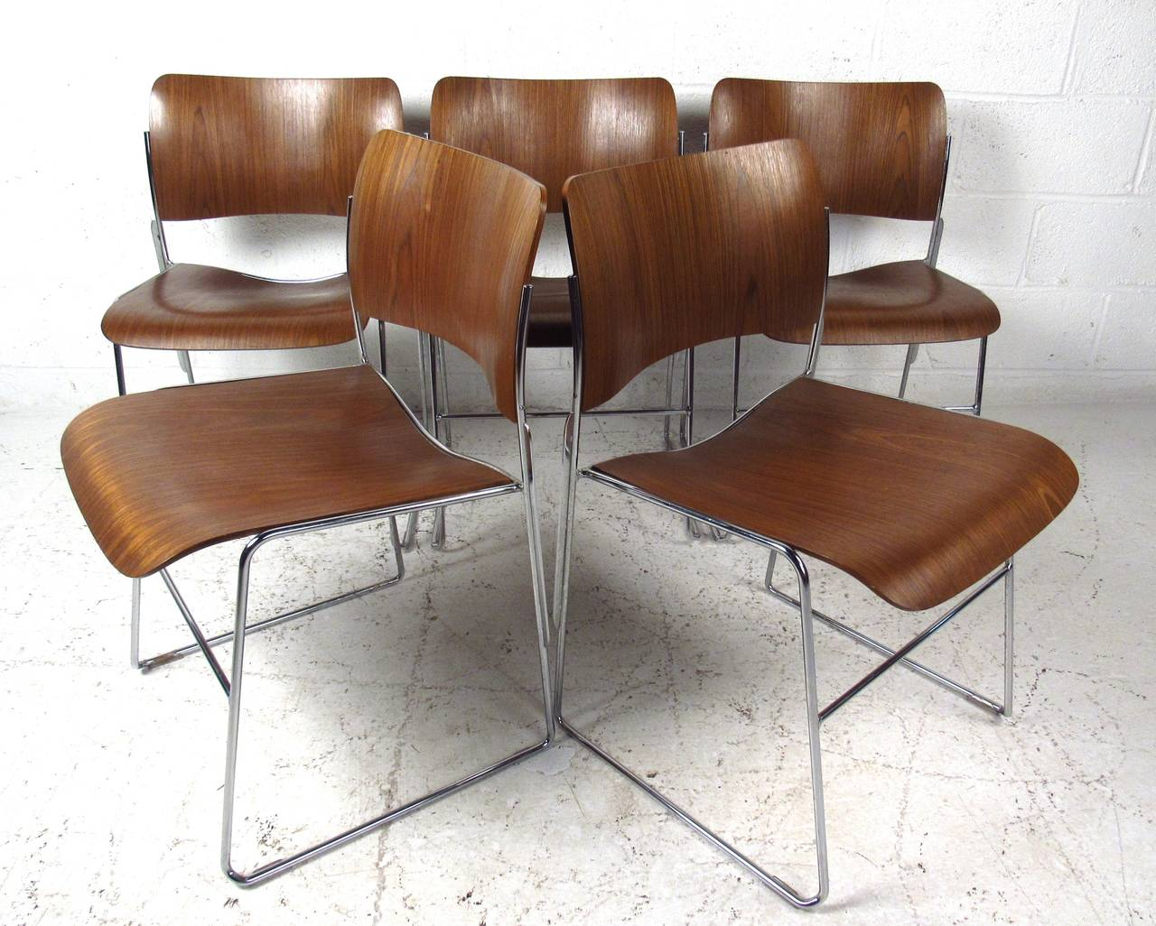 This Set Of Five Bentwood Chairs Feature The Sleek And Stackable Style  Produced By David Rowland