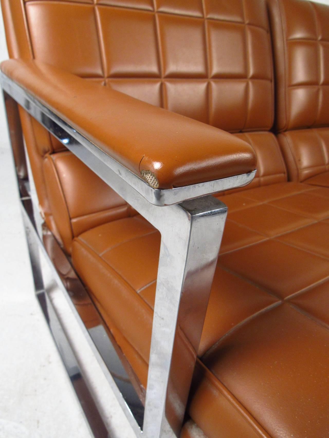 Midcentury Milo Baughman Style Three-Seat Sofa 4
