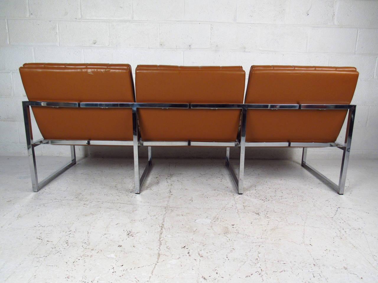 Faux Leather Mid-Century Modern Milo Baughman Style Three-Seat Sofa For Sale