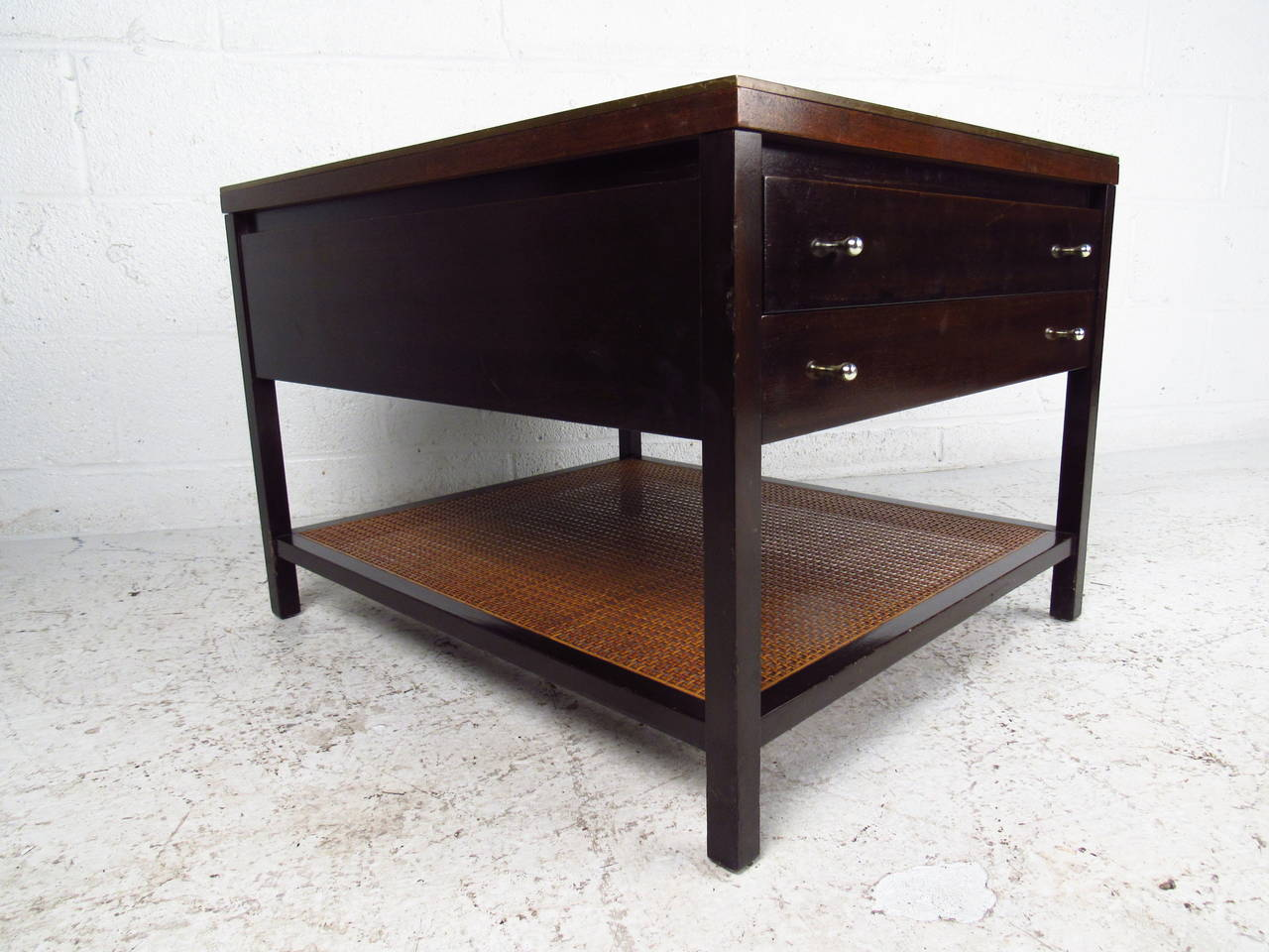 This Beautiful Paul McCobb End Table Features The Original Manufacturers  Label, Unique McCobb Drawer Pulls