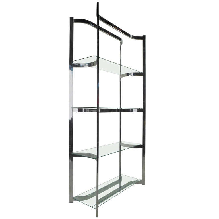 Mid-Century Chrome and Glass Etagere